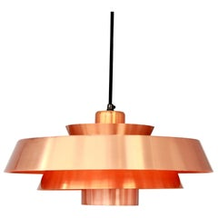 Jo Hammerborg Nova Pendant in Copper for Fog & Mørup, Denmark, 1960s