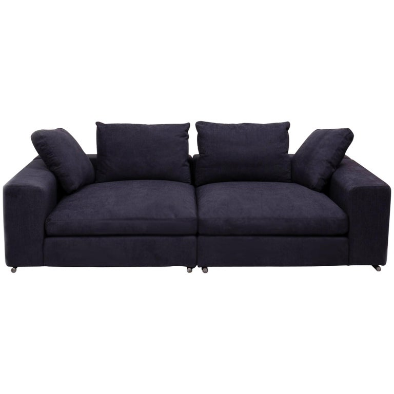 Vintage Slate Grey Fabric Sectional Sofa by Flexform For Sale