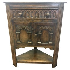 English Carved Dark Oak Corner Cabinet Table from George Fleet Stoke on Trent