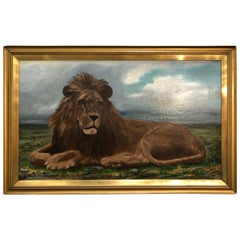 Lion Portrait Painting Majestic Beast Oil on Canvas Signed and Dated S. West