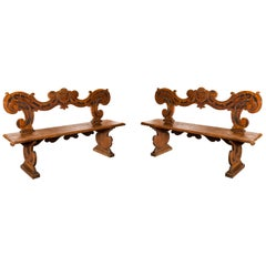 Pair of 17th Century Italian Benches, Carved Walnut Wood Florence Tuscany, Italy