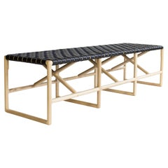 Montgomery Modern Hand Woven Leather Bench 72in.