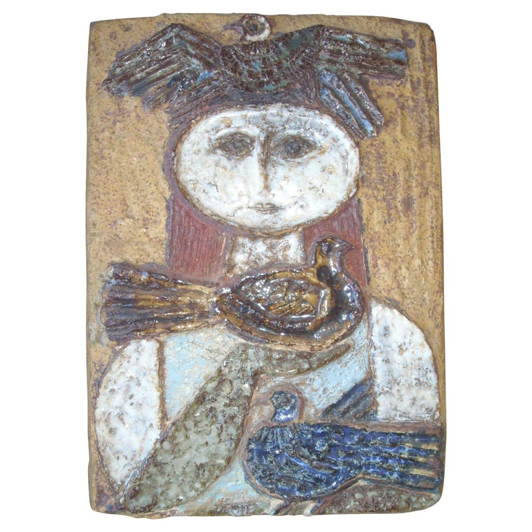 Lisa Larson Very Rare and Early Clay/Pottery/ Stoneware Wall Plaque, Signed LR For Sale