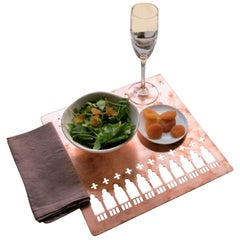 Copper Underplate and Placemat Handmade in Venice Design by Germana Scapellato