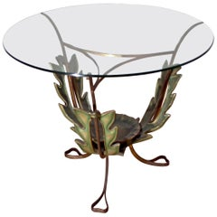 Pierluigi Colli Midcentury Italian Brass and Wood Coffee Table, 1950s