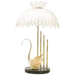 Hollywood Regency Table Lamp made of Mother of Pearl and a Sea Shell, 1960s