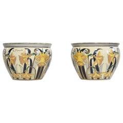 Italian Art Nouveau Earthenware Jardinieres by G. Fieravino
