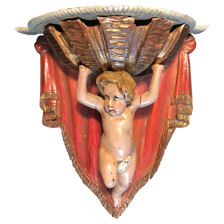 19th Century Carved Wood Polychrome and Gilt Putto Hanging Shelf For Sale
