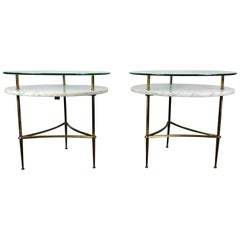 Stunning Pair of Italian Marble, Brass and Glass End Tables Modernist Regency