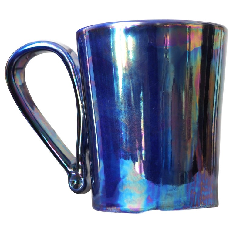 Mug in Ceramics Handmade in Italy with Shimmering Technique Called Lustro For Sale