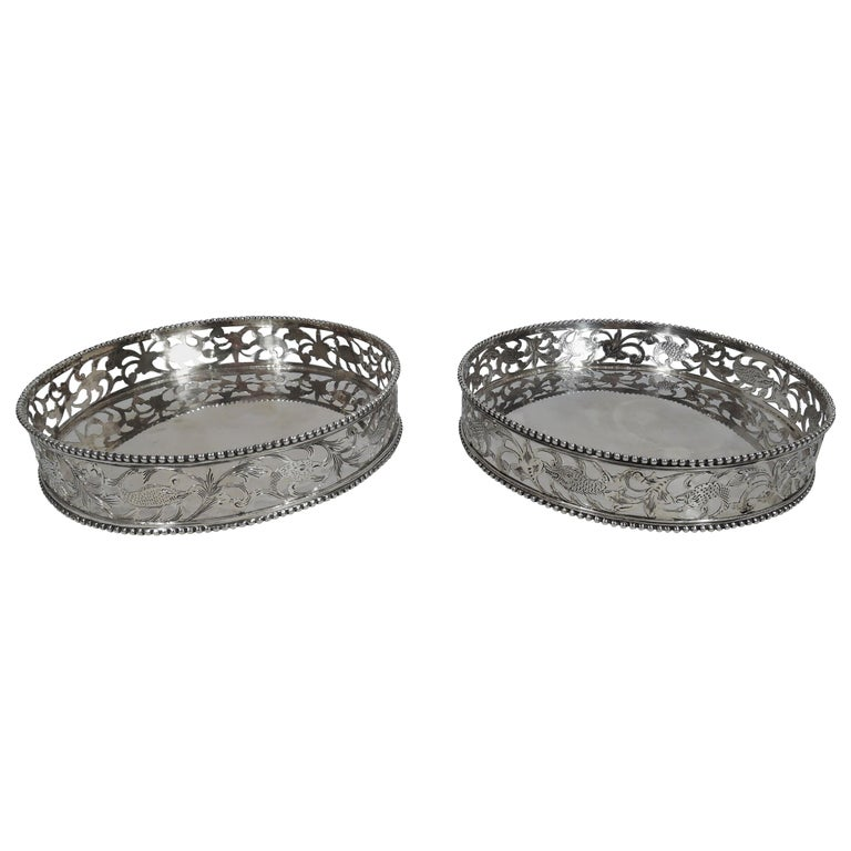 Pair of Antique Dutch Silver Wine Bottle Coasters For Sale