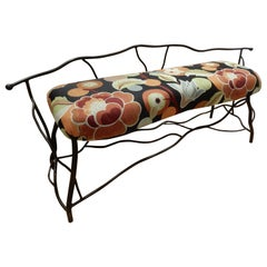 Artisan Crafted Diego Giacometti Styled Upholstered Bench