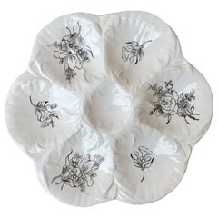 French Oyster Plate with Roses Luneville, circa 1940