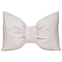 Small Designer Bow Pillow in Vintage Irish Linen Natural Oatmeal Cushion