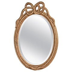 Hand Carved Italian Giltwood Rope Mirror, circa 1940
