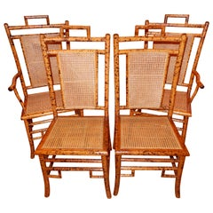 Four Bamboo and Cane Dining Chairs, 1920s