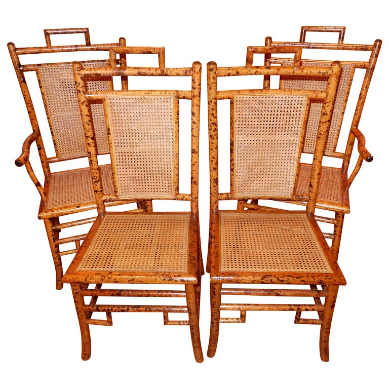 Awe Inspiring Four Bamboo And Cane Dining Chairs 1920S Ncnpc Chair Design For Home Ncnpcorg