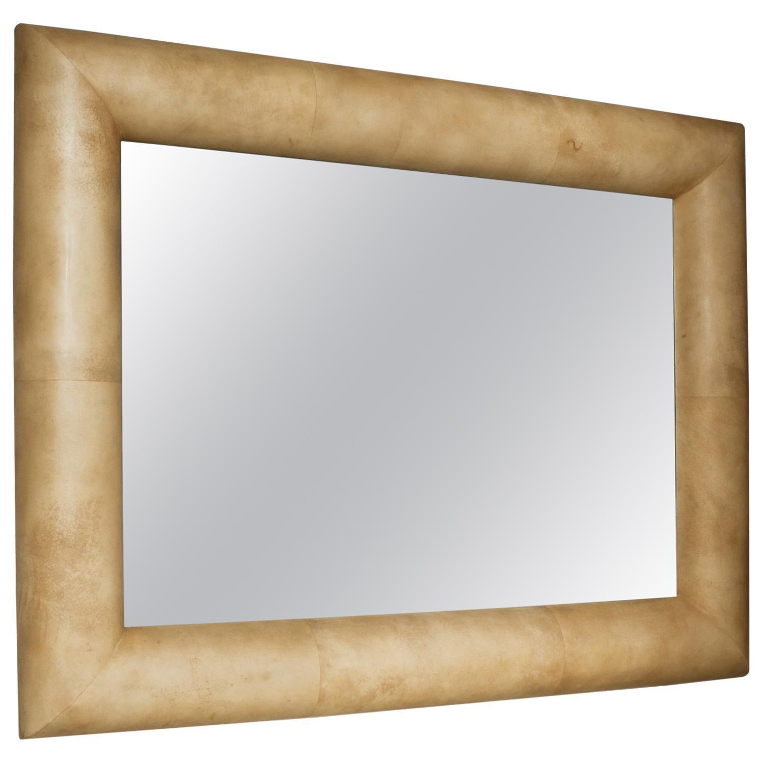 Large 1970s Half Round Goatskin Mirror in the Manner of Karl Springer