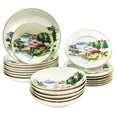 "1950s Japanese Hand Painted Moriage Porcelain ""Mt. Fuji"" Dinnerware, Set of 21"