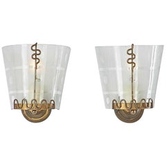Pair of 1950s Italian Etched Curved Glass and Brass Sconces