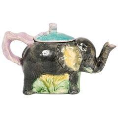 """English Majolica """"Jumbo"""" Elephant Tea Pot by Thomas Forester"""