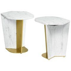 Sculptural White Calacatta Marble and Brass Side Table SET