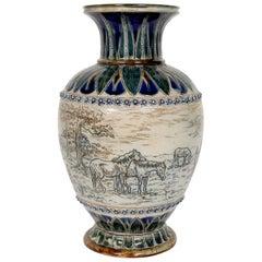 Doulton Lambeth Equestrian Vase by Hannah Barlow