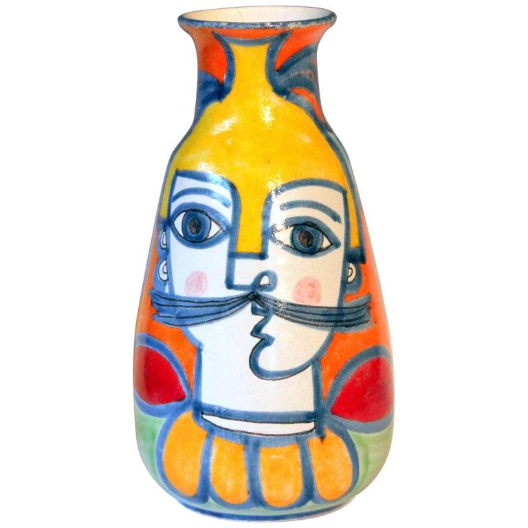 DeSimone Italian Pottery Vase Picasso Cubist Style Vintage For Sale