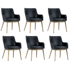 Set of 6, Mid-Century Modern Dining Chairs in Vintage Black Leather & Brass