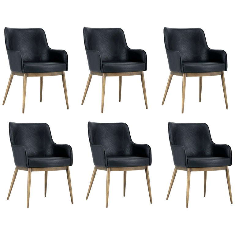 Set Of 6 Mid Century Modern Dining Chairs In Vintage Black Leather And Brass At 1stdibs