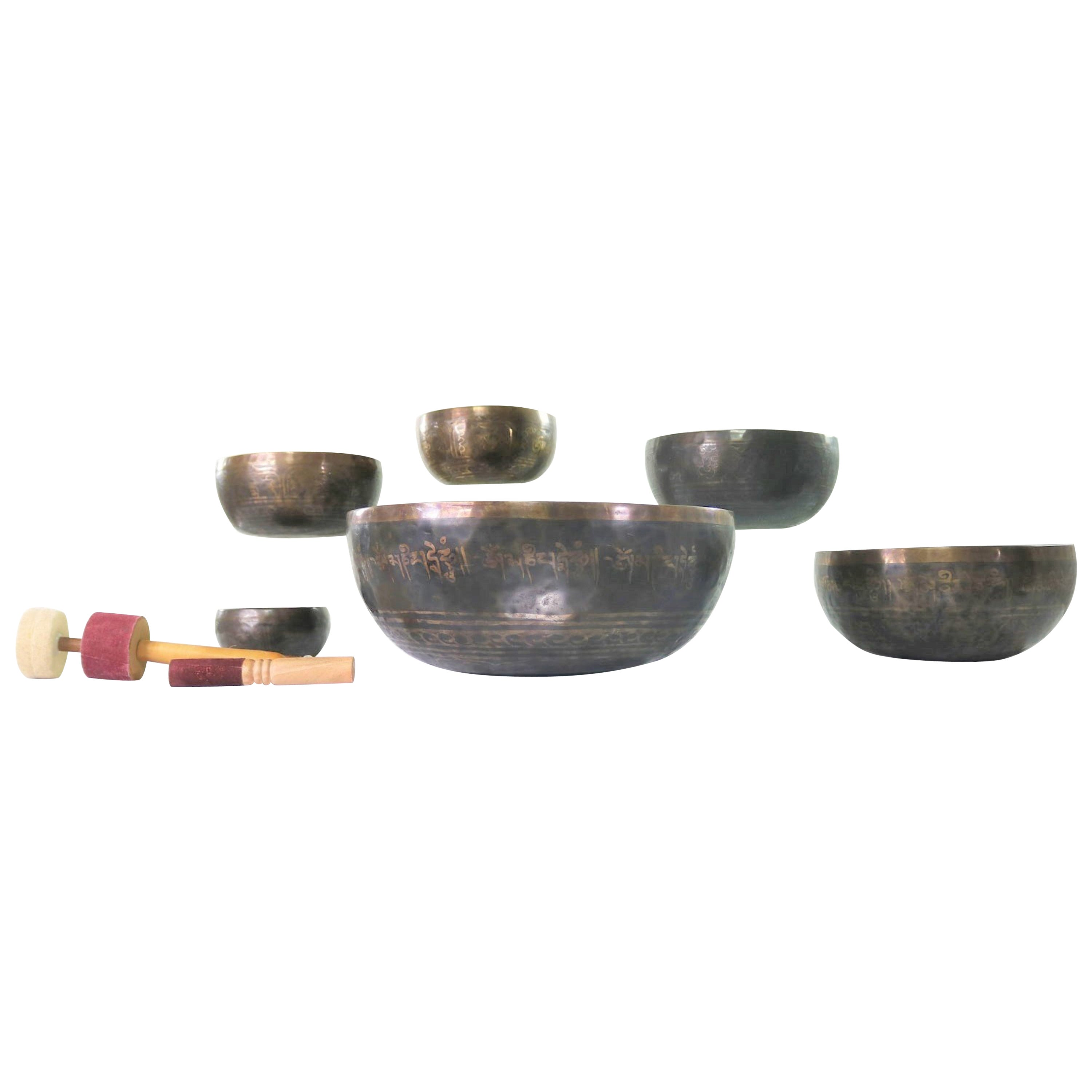 Vintage Set of 6 Bronze Nesting Incised Singing Bowls Standing Bowls & Mallets