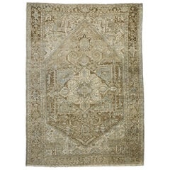 Distressed Antique Persian Heriz Rug with Rustic Puritan Chippendale Style