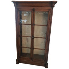Antique Armoire or Shelving Unit with Rolled Glass Door Panels
