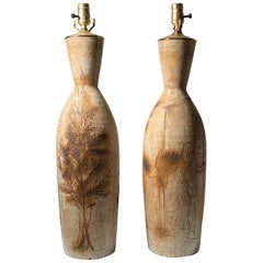 Pair of Tall Vintage Japanese Hand Thrown Torpedo Form Ceramic Table Lamps