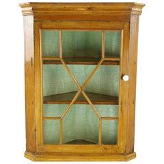 Antique Corner Cabinet, Victorian Pine Hanging Cabinet, Scotland, 1870, B1332A