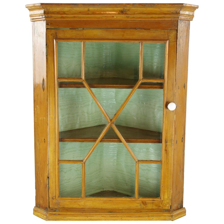 Antique Corner Cabinet Victorian Pine Hanging Scotland 1870 B1332a For