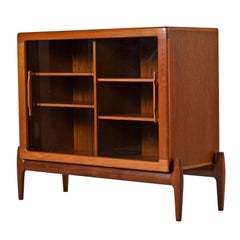 Danish Modern Sliding Glass Door Hutch Cabinet Bookcase with Carved Teak Pulls