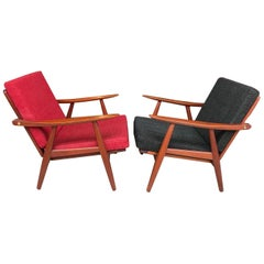 Pair of Hans Wegner GETAMA Ge-270 Teak Lounge Chairs