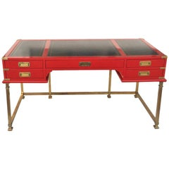 Vintage Campaign Style Writing Table/Desk Lacquered in Red