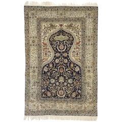 Vintage Turkish Hereke Koum Kapi Design Silk Prayer Rug with Regal Ottoman Style