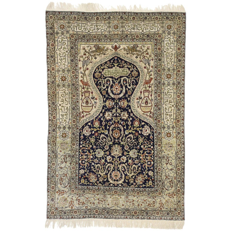 Vintage Turkish Hereke Koum Kapi Design Silk Prayer Rug