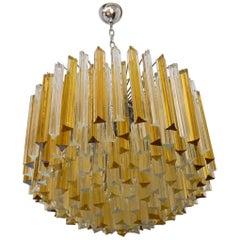 Venini Mid-Century Modern Crystal Amber Murano Glass Triedri Chandelier, 1984s
