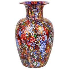 Livio Campanella Mid-Century Modern Murrina Millefiori Murano Glass Vase, 1988s