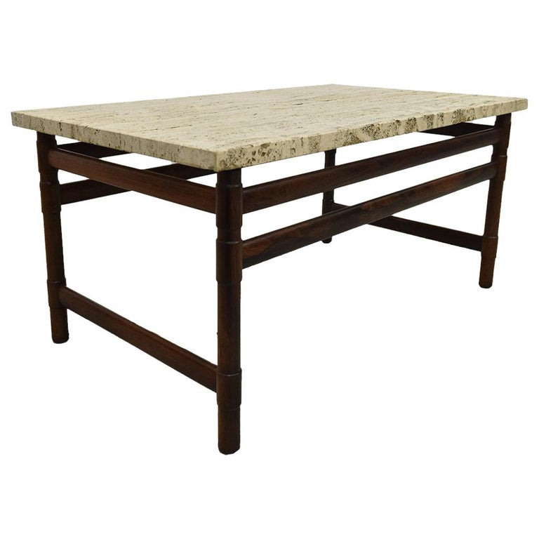 Solid Travertine Coffee Table: Midcentury Solid Rosewood And Travertine Coffee Table