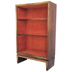 Wood and Crystal Display Cabinet in the Style of Gio Ponti, Italy, 1940s