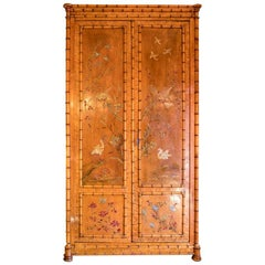 Perret et Vibert, Japanese Style Armoire Bamboo Imitation, Lacquer Decor, 1880s