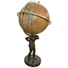 Hungarian Globe on Bronze Atlas Figurine and Black Marble Footbase,  circa 1920