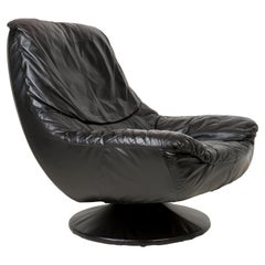 20th Century Vintage Black Leather Swivel Armchair, 1960s