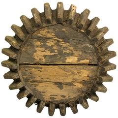 Antique Primitive Industrial Folk Art Wooden Gear Table