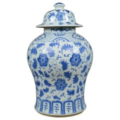 Large Spice Jar Decorative, Blue and White, Baluster Vase with Lid, 20th Century